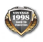 1998 Year Dated Vintage Shield Retro Vinyl Car Motorcycle Cafe Racer Helmet Car Sticker 100x90mm